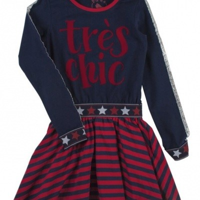 Birds by D-rak dress Tres Chic rood/navy