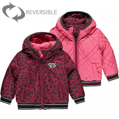Foto van Quapi baby girl Reversible Jacket Vallie Bordeaux Leopard & Pink