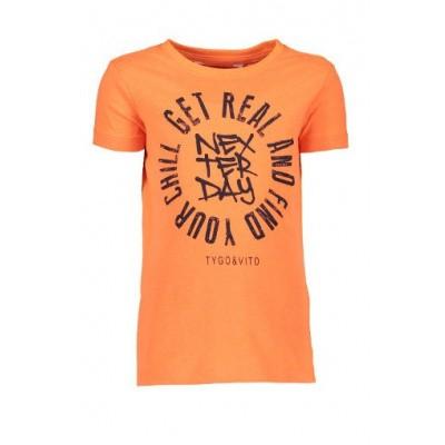 Foto van Tygo & Vtio boys Neon T-shirt Get Real 565 Shocking Orange