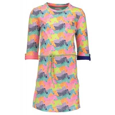 Kidz-art dress 3/4 sleeve + waist string Zebra all over