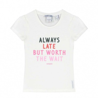 Nik & Nik Girls Always late t-shirt Off White