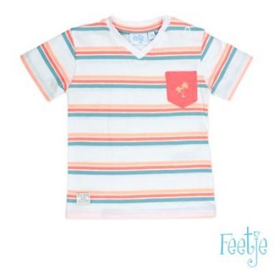 Foto van Feetje boys T-shirt streep Wit/Groen/Oranje Pool party