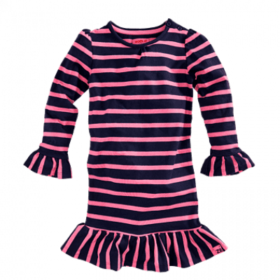 Z8 girls Rubia Jurk Royal blue/ Popping pink stripes