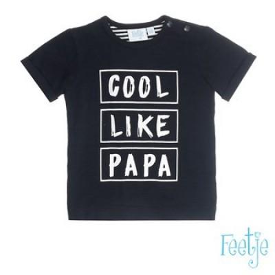 Foto van Feetje baby boys T-shirt Cool like papa Zwart Palmtrees