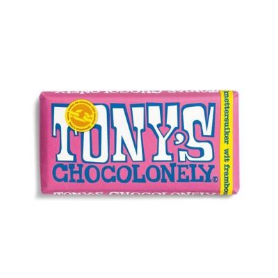 Foto van Tony's Chocolonely Wit Framboos Knettersuiker 180 gram
