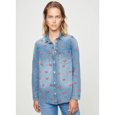 Zoe Karssen You'll Do All Over Denim Shirt Mid Wash Blue