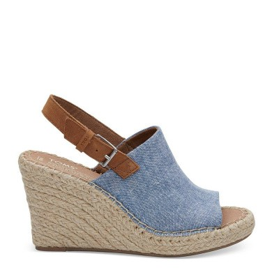 Foto van Toms Monica Chambray Leather Wedge Blue