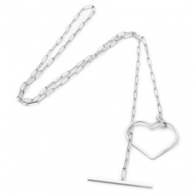 SeeMe Medium Heart Long Rock Chain Silver