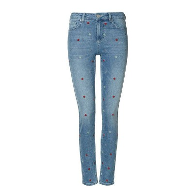 Foto van Zoe Karssen All Over Heart Embroidery Skinny Mid Wash Blue