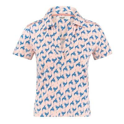 IEZ! T-Shirt Polo Bird Print Jersey Pink Cobalt