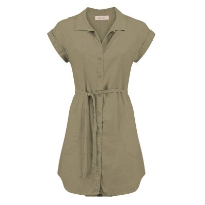 Bella Dahl Capsleeve Shirtdress Faded Army