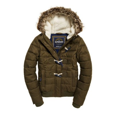 Foto van Superdry Marl Toggle Puffle Jacket Dakota Green Herringbone