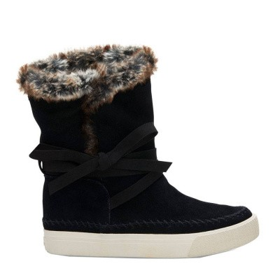 Toms Vista Boot Suede Faux Fur Black