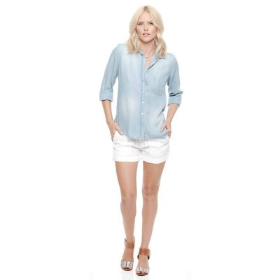 Foto van Bella Dahl Shirt Tail Button Down Faded Light Wash