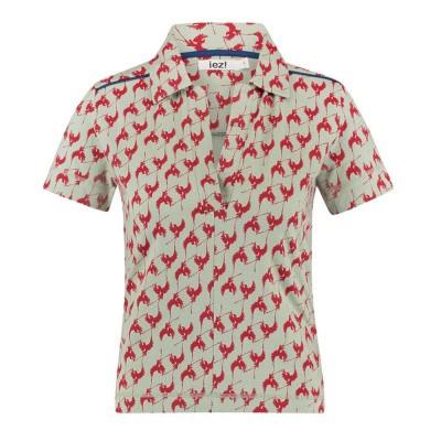 IEZ! T-Shirt Polo Bird Print Jersey Light Green Red