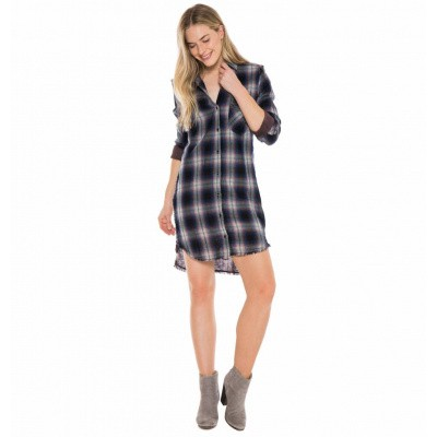Foto van Bella Dahl Fray Pocket Shirt Dress Pink Black