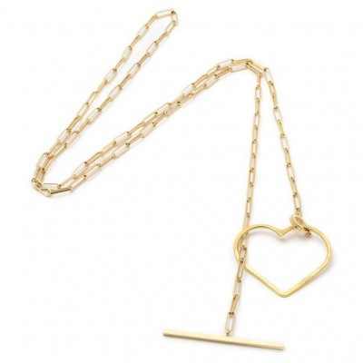 SeeMe Medium Heart Long Rock Chain Gold
