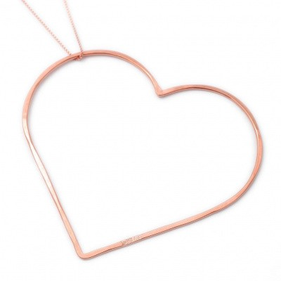 SeeMe Big Heart Long Venetian Chain Rose