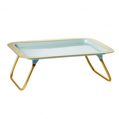 Foto van Rice Bed Tray with Gold Edge and Foldable Legs in Soft Grey