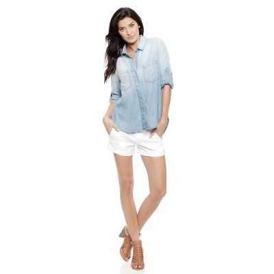 Bella Dahl Blouse Split Back Button Down Ombre Wash