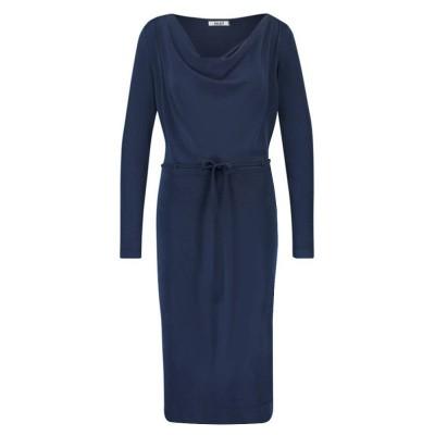 IEZ! Dress Drapy Neckline Modal Dark Blue