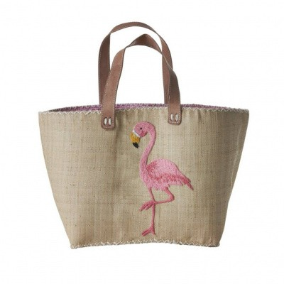 Foto van Rice Large Natural Shopping Bag with Pink Flamingo Embroidery