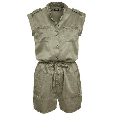 Blauer Short Silk And Cotton Jumpsuit Green Grapevine