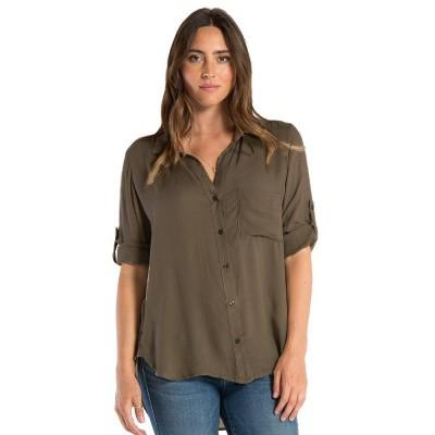 Bella Dahl Longsleeve Shirt Tail Button Down Burnt Olive