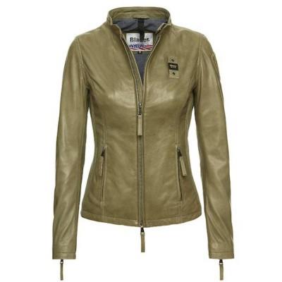 Blauer Hannah Urban Biker Leather Jacket Green Alga