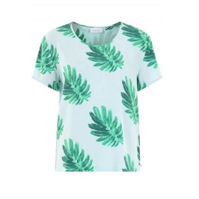 Fabienne Chapot Faab Top Printed Light Blue Leaf Green