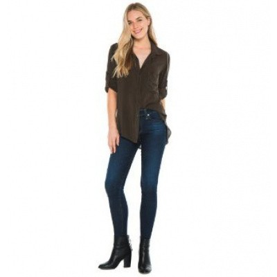 Foto van Bella Dahl Longsleeve Shirt Tail Button Down Army Olive