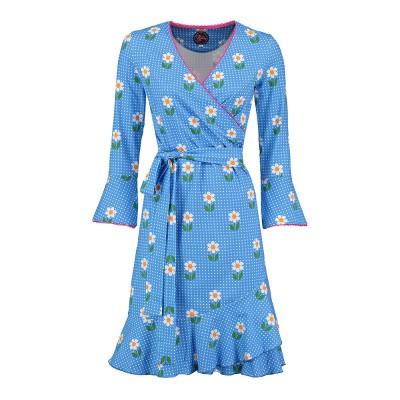 Foto van Tante Betsy Ruffle Wrap Dress Daisy Dot Blue