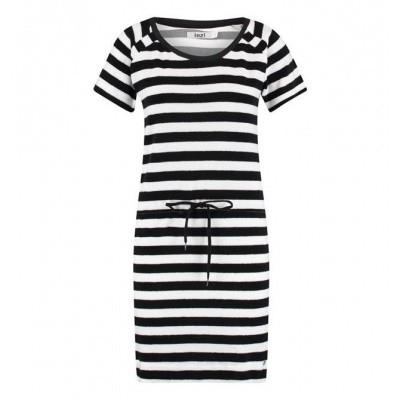 IEZ! Dress Terry Stripe Black White