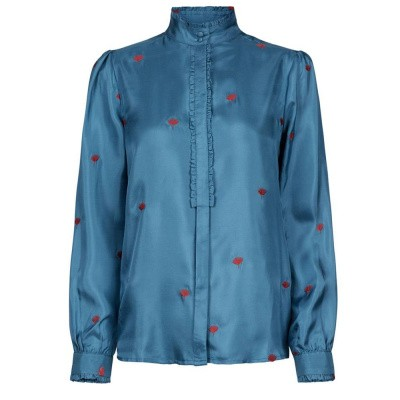 Foto van Fabienne Chapot Mara Embroidery Blouse Heaven Blue Deep Red