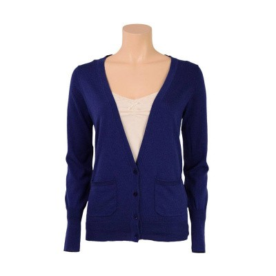 King Louie Cardi Long Cocoon Jet Blue