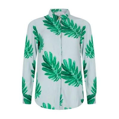 Fabienne Chapot Perfect Blouse Light Blue Leaf Green