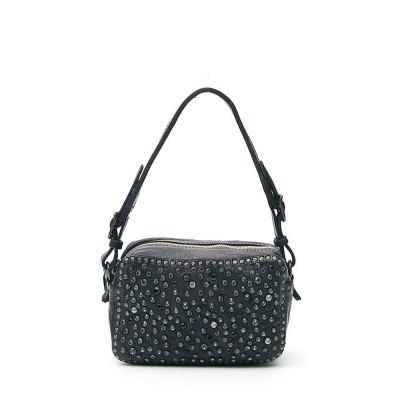 Campomaggi Mini Bowler Bag with black rhinestones in black leather