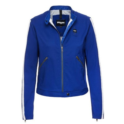 Foto van Blauer Victoria Cotton And Nylon Biker Jacket Blue Limoges Patch