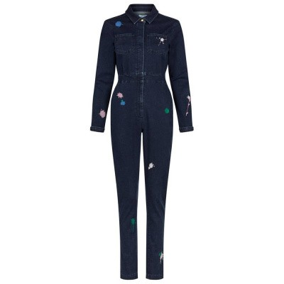 Fabienne Chapot Justin Embroidery Jumpsuit Jeans Forest Green