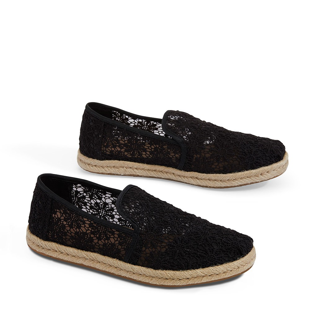 39b2bcb814a TOMS Deconstructed Alpargata Rope Floral Lace Black - Cosmic Cowboys