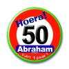Afbeelding van Button Verkeersbord Abraham 50 Jaar
