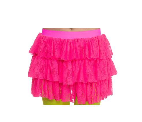 4840286aafd6b9 Neon rokje roze met kant kopen  – Confettifeest.nl