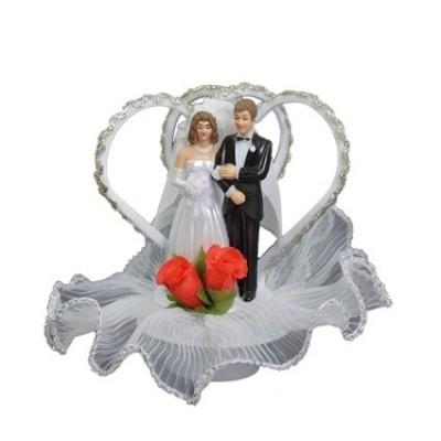 Foto van Taartversiering Bruidspaar Twee Harten