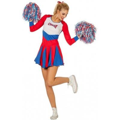 Foto van Cheerleader kostuum rood-wit-blauw - Luxe
