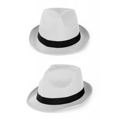 Witte hoed met zwarte band
