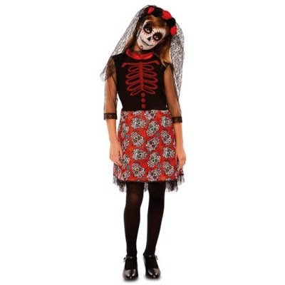 Foto van Day of the Dead jurkje rood - kind