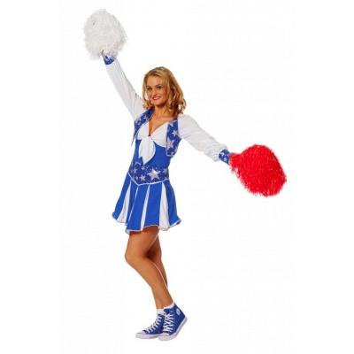Foto van Cheerleader kostuum blauw - Luxe