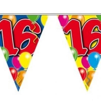 Foto van Vlaggenlijn balloons 16 jaar 10M