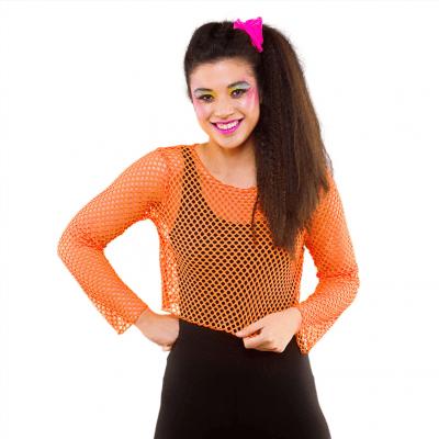 Foto van Visnet croptop neon oranje