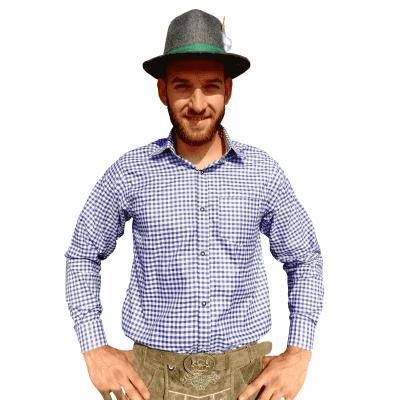 Foto van Tiroler overhemd blauw-wit